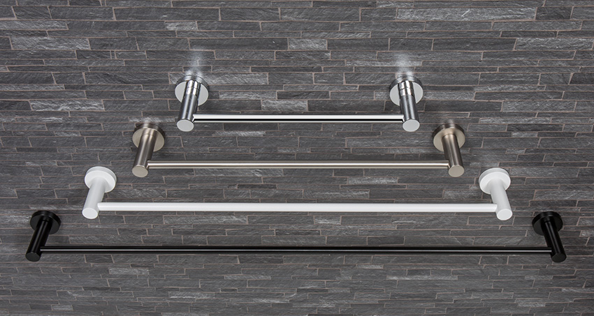 Towel holders in different finishes: chrome - zirconium steel - matt white - matt balck
